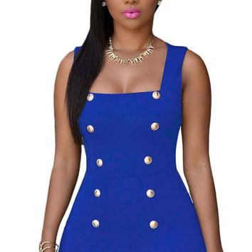 Chicloth Royal Blue Gold Buttons Romper
