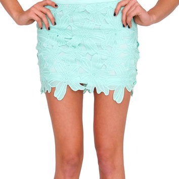 Adore You Lace Mini Skirt - Mint