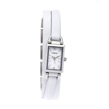 Fossil Women's 'Delaney' Stainless Steel Triple White Leather Band Watch