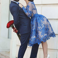 2016 Royal Blue Prom Dresses Long Sleeves Knee length 3D Floral Appliques Formal Gowns Arab Dresses