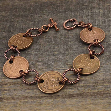 Copper penny and rings bracelet, US wheat coin jewelry wheaties 7 3/4 inches 20cm