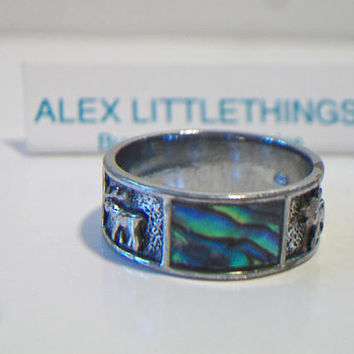 Vintage Abalone Moose Band Ring Size 8.5 Unisex Jewelry Nature Lover