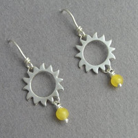 Sun Earrings - Dangle Sunshine Earrings - Sterling Silver with Yellow Colored Jade - Summer earrings