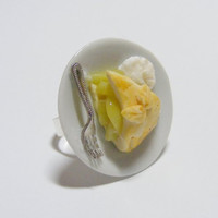 Scented or Unscented Grans Apple Pie Slice Miniature Food Ring  - Miniature Food Jewelry