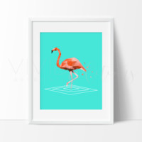 Teal + Pink Geometric Poly Flamingo