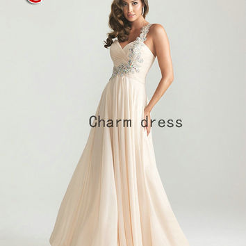 2013 new prom dresses   chiffon long ball gown dress on sale    beaded evening gowns
