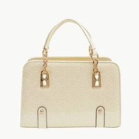 Fashion Womens PU Leather Padlock Tote Handbag Shoulder Bag