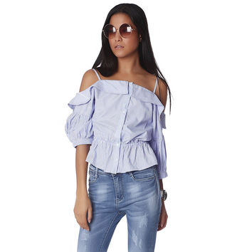 Blue stripe off the shoulder top with peplum