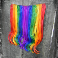 "ON SALE Rainbow Blast Clip In / 18"" Long One Piece Hair Extension / Clip To Your Natural Hair or a Wig"