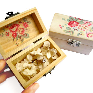 Wooden box with red rose Ring bearer Gift box Wedding decor gift idea