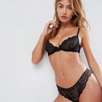 ASOS Rita Basic Lace Mix & Match Bra Set in Black Including 30DD-38HH at asos.com