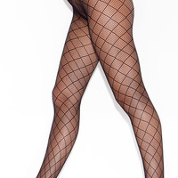 Diamond Cutout Mesh Pantyhose