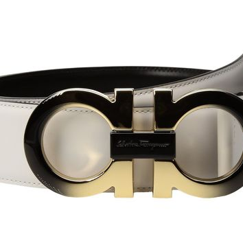 NEW!! FERRAGAMO $495 Double Gancini Leather Reversible Belt White & Black Sz 36