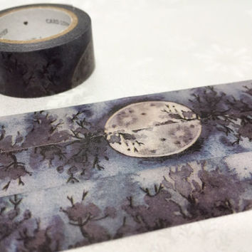 black night full moon washi tape 7M mystery night black night scenes masking tape watercolor forest night scenery decor tape gift wrapping