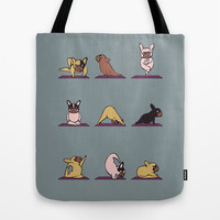 Frenchie Yoga Tote Bag by Huebucket