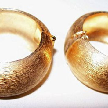 "Napier Huggie Earrings Designer Signed BIG Chunky Hoops Clip Style Brushed Gold Metal 1 1/4"" Vintage"