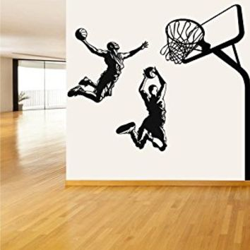 Wall Decal Vinyl Sticker Decals Art Decor Design Set Basketball Players Ball Net Hoot Basket Jumping Sport Kids Children Gift Bedroom (r354)