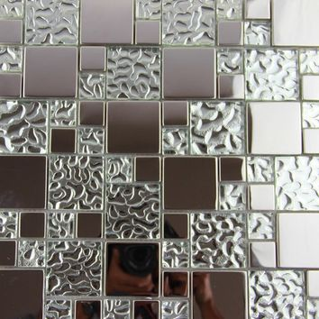 11 square feet stainless steel metal glass mosaic tile kitchen backsplash bathroom shower background hotel decorative wallpaper