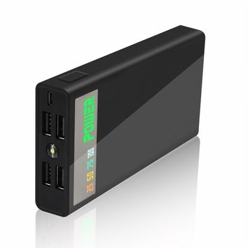 50000mAh Power Bank 4 USB LCD 18650 Battery Mobile Phone Charger (Color: Black)