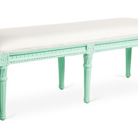 Carroll Outdoor Bench, Mint/White, Outdoor Benches