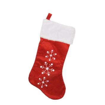 "19"" Red Velvet Embroidered & Sequined Snowflake Christmas Stocking with White Cuff"