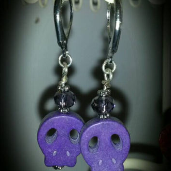Handcrafted purple skull and swarovski bead drop earrings Emo, goth, young and trendy