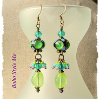 Bohemian Gypsy Hippie Earrings, Artisan Lampwork Glass Earrings, Art Statement Jewelry, Boho Style Me, Kaye Kraus