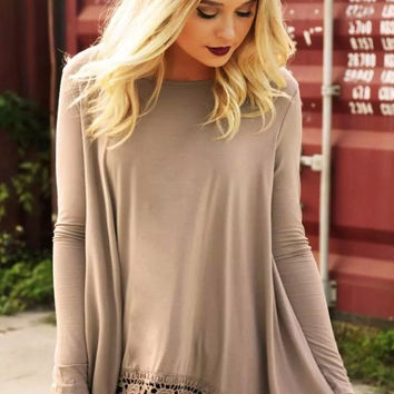 Khaki Long Sleeve Shirt with Lace Trim