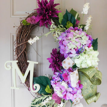 Lavender Hydrangeas & Plum Mums Grapevine Wreath with Burlap. Year Round Wreath. Spring Wreath. Summer Wreath. Monogram Wreath. Door Wreath.