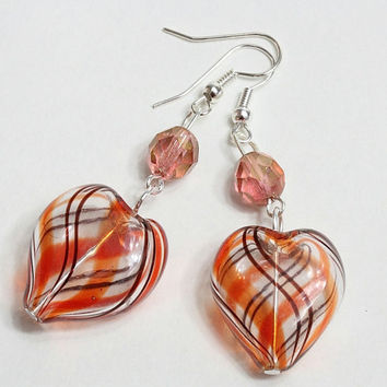Glass red hearts earrings