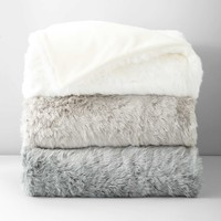 Hudson Park Faux Fur Colored Throw