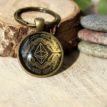 Ethereum Keychain | Cryptocurrency Jewelry | Bitcoin Jewelry | Personalized Men Gift | Blockchain Jewelry