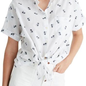 Madewell Palm Print Tie Front Shirt   Nordstrom