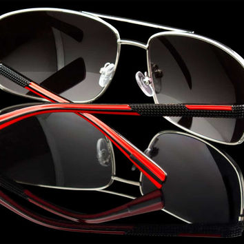 "Red/Black Exotic Rectangle Lens Racing Sunglasses ""Sultan"""