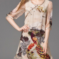 Apricot Peacock Crane Print High Low Dress