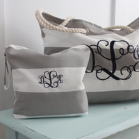Monogrammed Beach Bag Wet Bag Combo -  Beach Tote - Water Resistant Bag - Bridal Gift - Monogrammed Gift
