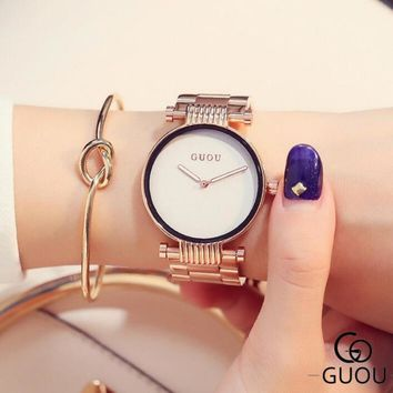 GUOU Wrist watches Simple Fashion Rose Gold Watch Women Watches Stainless Steel Watch Clock Women relogio feminino reloj mujer