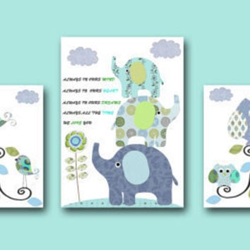 "Art for Children , Kids Wall Art, Baby Boy Room Decor,Nursery print,set of 3 8"" x 10"" Print,elephant,birds,owlls,tree,blue,green,artwork"