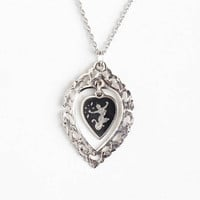 Vintage Sterling Silver Siam Filigree Heart Pendant Necklace - 1940s Mekkala Goddess Of Lightning Dark Niello Ramakien Lavalier Thai Jewelry