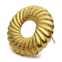 Signed Monet Gold Tone Wreath Brooch - Vintage Monet Gold Circle Brooch - Round Textured Spiral Wreath Brooch Pin - Gold Wreath Brooch