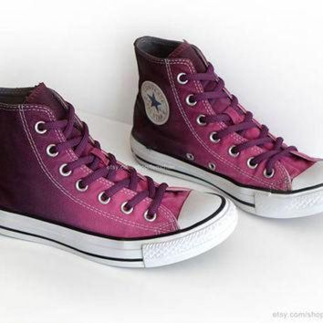 CREYONB Ombr¡§| dip dye Converse All Stars, mulberry pink, wine red, upcycled vintage sneakers,