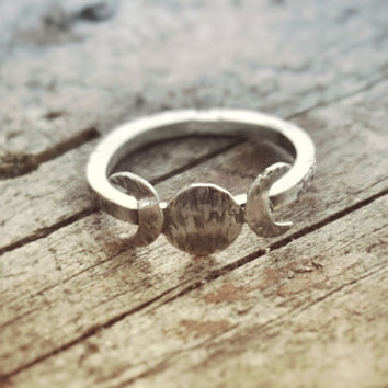 Moon phase Ring, Triple Goddess Ring, Goddess Jewelry, Wiccan Ring, Wicca Jewelry, Lunar Phases, Crescent Moon Ring, Full Moon, Boho Ring