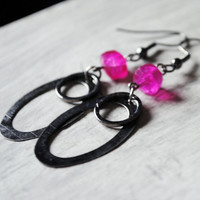 Hot Pink Earrings Chalcedony Gunmet.. on Luulla