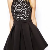 Black Cut-Out Sleeveless Backless Skater Dress
