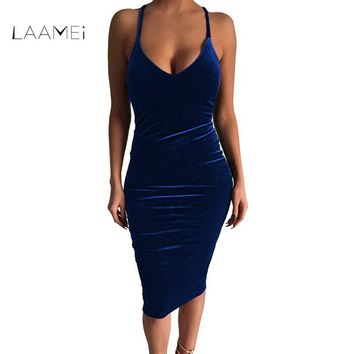 Laamei New 2018 Summer Deep VNeck Hollow Out Sexy Dresses Women Elegant Bandage Bodycon Backless Dress Velvet Party Club Vestido