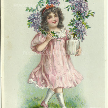 "Antique Postcard - Girl with Purple Flowers - Clemantis - Raphael Tuck & Son's ""Birthday"" Series No. 250 - Early 1900"