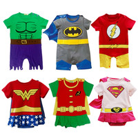 Baby Costumes Superhero Playsuits Infant Boys Girls Rompers Outfit Supergirl Superman Batman Wonder Woman Hulk Toddler Jumpsuits