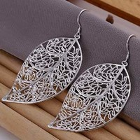 Elegant Fashion Jewelry 925 Silver Plated Stud Dangle Earings Eardrop Skeleton Big Leaf