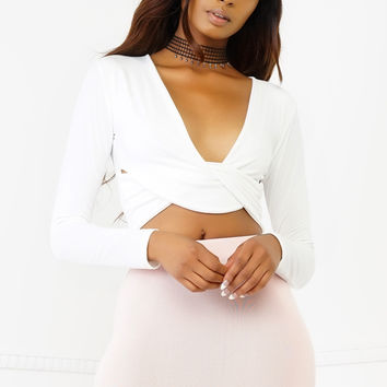 Knot Me Crop Top - White