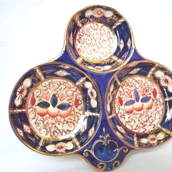 Blue Cobalt Divided Plate Imari from Arthur Wood ,Gold Porcelain Serving Plate